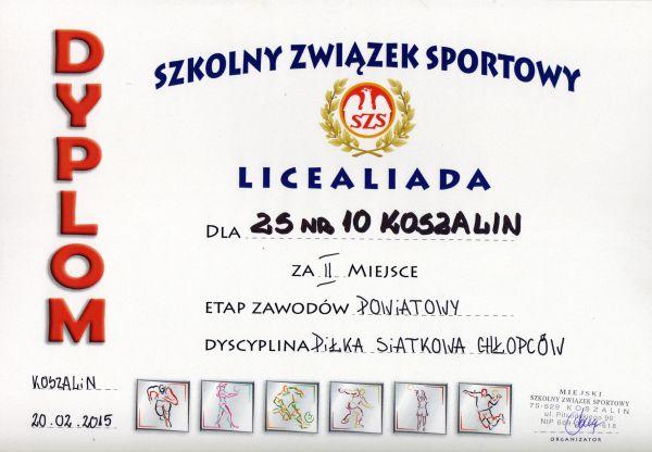 dyplom siatkówka Licealiada 2015